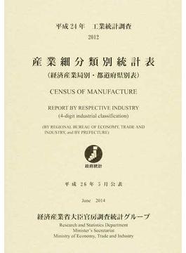 産業細分類別統計表 経済産業局別・都道府県別表 工業統計調査 平成24年