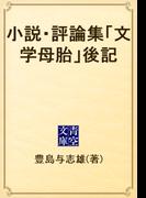 小説・評論集「文学母胎」後記(青空文庫)