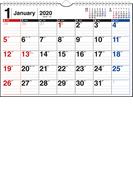 エコカレンダー壁掛 カレンダー 2020年 令和2年 A4  E61 2020年1月始まり