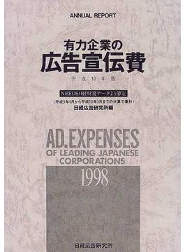 有力企業の広告宣伝費 NEEDS日経財務データより算定 平成10年版