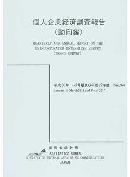 個人企業経済調査報告(動向編) 平成30年1~3月期及び平成29年度