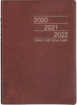 3年卓上日誌 手帳 日記 ダイアリー 2020年 令和2年 A5 皮革調 茶 No.63 2020年1月始まり