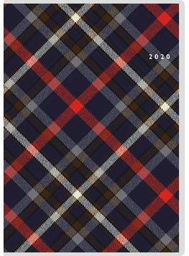 クレール インデックス 4 月曜始まり 手帳 2020年 令和2年 B6 マンスリー クリアカバー チェック ネイビー No.387 2020年1月始まり