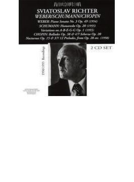 ショパン:24の前奏曲からの11曲、スケルツォ第1番、シューマン:アベッグ変奏曲、ウェーバー:・ピアノ・ソナタ第3番、他 リヒテル(p)(2CD)