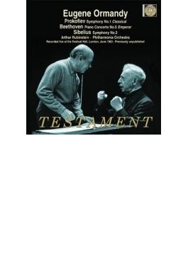 ベートーヴェン:皇帝、シベリウス:交響曲第2番、プロコフィエフ:古典交響曲 ルービンシュタイン、オーマンディ&フィルハーモニア管(2CD)