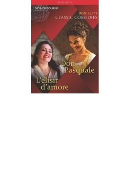 『ドン・パスクァーレ』全曲(マッツォーラ指揮、ドゥ・ニース)、『愛の妙薬』全曲(ベニーニ指揮、シウリーナ) グラインドボーン2013、2009(2DVD)