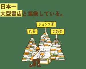 日本一 大型書店と連携している。